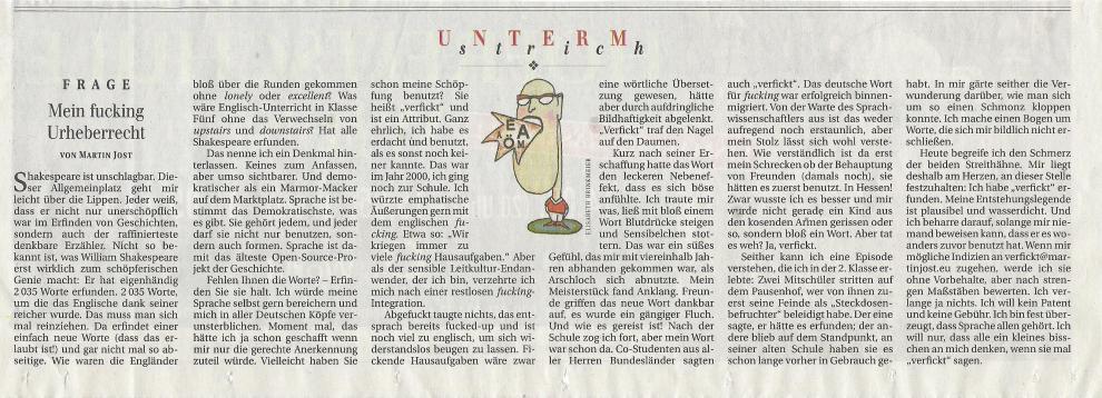 Screenshot vom Artikel Mein fucking Urheberrecht in der Berliner Zeitung