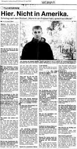 Thüringische Landeszeitung (TLZ) vom 29. April 2002. »Hier. Nicht in Amerika« von Thorsten Büker