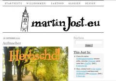 martinJost.eu im PressRow-Look, mit selbst gemachtem Header und einem Aufmacherbild.