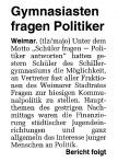 Gymnasiasten fragen Politiker, TLZ vom 9. März 2001