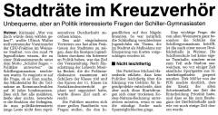 Stadträte im Kreuzverhör. TLZ vom 10. März 2001