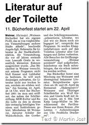 Literatur auf der Toilette, TLZ vom 11. April 2001