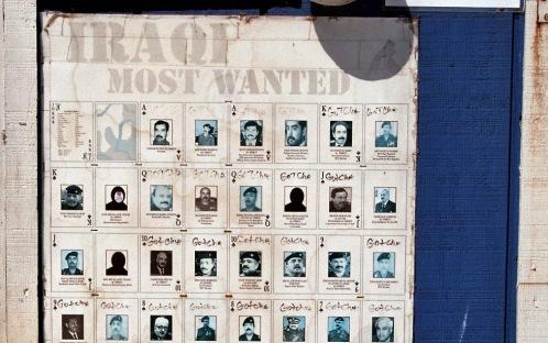 Iraqi Most Wanted Poster mit abgehakten Gekriegten