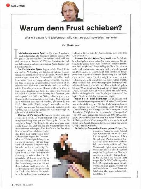Seite Kolumne aus dem Magazin Forum