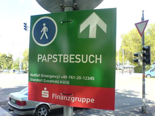Pilgerwegschild grün, Sponsor