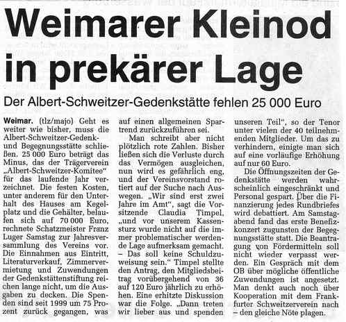 Der Albert-Schweitzer-Gedenkstätte fehlen 25000 Euro