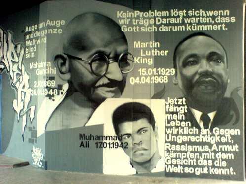Graffiti Basler Straße Freiburg Mohammed Ali, Mahatma Gandhi, Martin Luther King