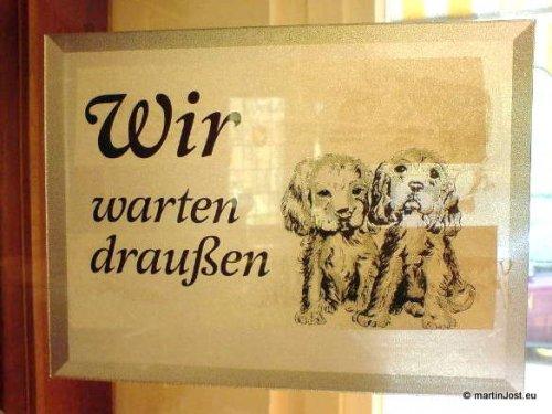 Piktogramm zweier Hundewelpen an einer Ladentür, die sagen: Wir warten draußen.