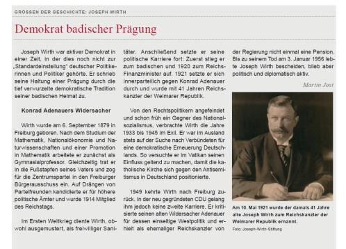Artikel über Joseph Wirth in uni'alumni Ausgabe 2015