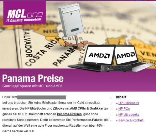 """Screenshot aus einem Newsletter der Firma MCL: Das Marketing bezieht sich in mehreren Kalauern auf aktuelle Themen. """"Panama-Preise"""" ist hier Code für eine schlaue Investition in günstige Laptops. Natürlich legal."""
